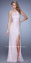 La Femme Beaded Lace Side Cut-Out Prom Dress