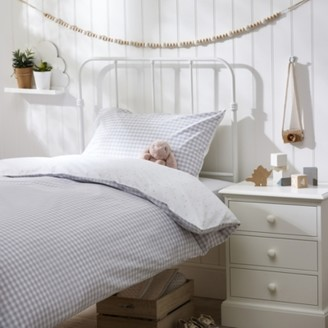The White Company Reversible Gingham Bed Linen Set, Grey, Cot Bed