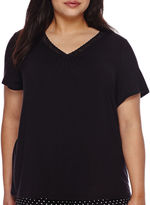 JCPenney Ambrielle Lace-Accented Short-Sleeve Sleep Tee - Plus