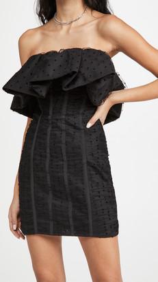 Self-Portrait Black Dot Mesh Frill Mini Dress