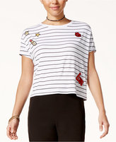 SHIFT Juniors' Striped Patch T-Shirt, Only at Macy's