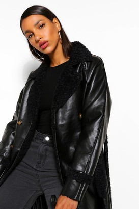 boohoo Faux Leather Teddy Trim Trench Coat