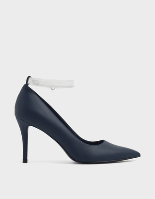 Charles & Keith Clear Ankle Strap Stiletto Pumps