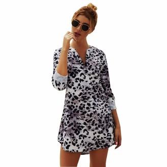 JLTPH Women V-Neck Long-Sleeved Snakeskin Leopard Print Shirt Dress Short Dresses Without Belt Casual Tee Shirt Tops Blouse