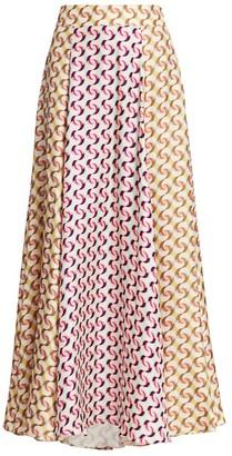 Olivia Palermo Printed Silk Maxi Skirt