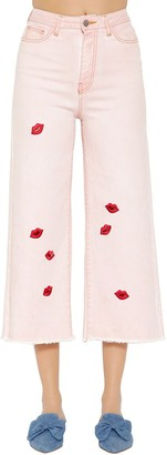 VIVETTA Lips Cropped Wide Leg Denim Jeans