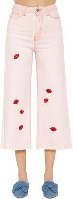 VIVETTA Lips Cropped Wide Leg Denim Jeans
