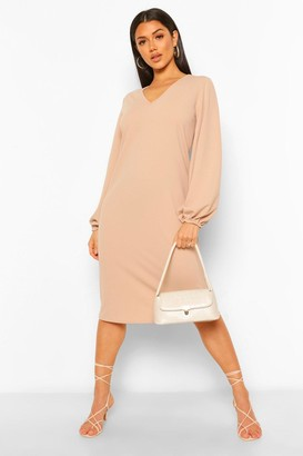 boohoo V Neck Balloon Sleeve Midi Shift Dress