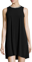 Karl Lagerfeld Sleeveless Trapeze Dress with Pearly Trim, Noir