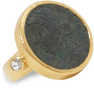 Gurhan Antiquities 24K Yellow Gold, Roman Coin & Diamond Ring