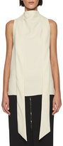 Tom Ford Silk Marocain Cross-Back Blouse, Beige