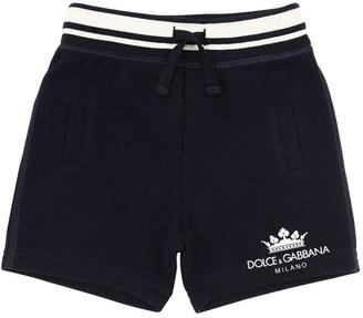 Dolce & Gabbana Logo Print Cotton Sweat Shorts