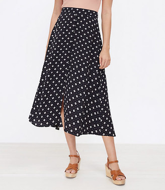 LOFT Geo Button Midi Skirt