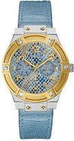 GUESS Ice Blue and Gold-Tone Python-Texture Watch