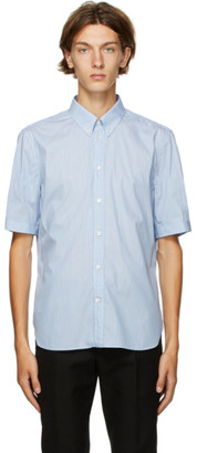 Alexander McQueen Blue and White Stripe Short Sleeve Shirt