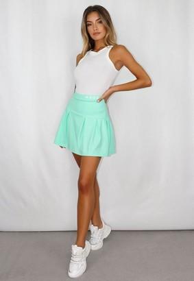 Missguided Mint Msgd Box Pleat Tennis Skirt