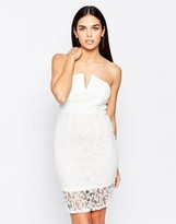 Club L Notch Front Bandeau Dress In Structured Lace