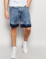Diesel Denim Shorts Bust-re Straight Fit Opened Hem In Acid Wash