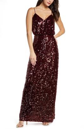 WAYF The Savannah Blouson Pailette Evening Gown
