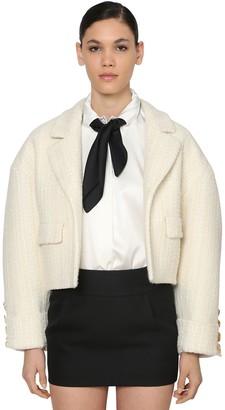 Alexandre Vauthier Oversized Wool Tweed Crop Jacket