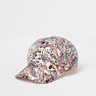 River Island Girls Brown animal print cap