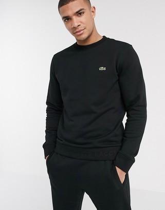 Lacoste logo crew neck sweat in black