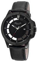Kenneth Cole Monochrome Ion-Plated and Leather Strap Watch, 10029297