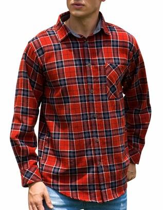 Janmid Men's Button Down Regular Fit Long Sleeve Plaid Flannel Casual Shirts Black White Plaid XL