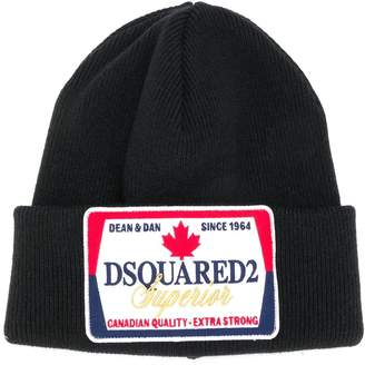 DSQUARED2 logo patch beanie