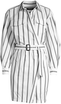 Derek Lam Asymmetric Striped Belted Shirtdress