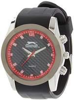 Slazenger Men's Quartz Watch with Black Dial Analogue Display and Black Silicone Strap SLZ305/B