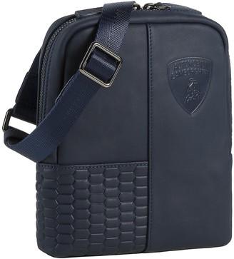 Lamborghini Automobili Engine Blue Leather Men's Small Crossbody Bag