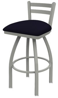 "Holland Bar Stool 411 Jackie Low Back Swivel Stool Color: Anodized Nickel, Upholstery: Canter Twilight, Seat Height: Counter Stool (25"" Seat Height)"