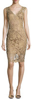 Tadashi Shoji Sleeveless Lace Cocktail Dress, Gold