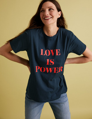 Marks and Spencer Cotton Slogan Straight Fit T-Shirt