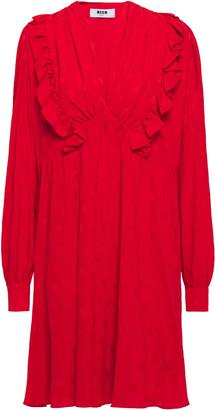 MSGM Ruffled-trimmed Crepe De Chine Jacquard Mini Dress