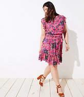 LOFT Plus Mixed Floral Tie Flutter Dress