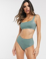 Weekday Jenna glitter sporty bra in sage green