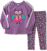 Kids Headquarters 2-Pc. Owl-Embroidered Top and Star-Print Leggings Set, Little Girls (4-6X)
