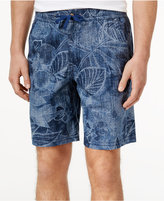 Cubavera Men's 100% Cotton Foliage Print Drawstring Shorts