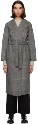 S Max Mara Grey and Black Fiorito Wrap Long Coat