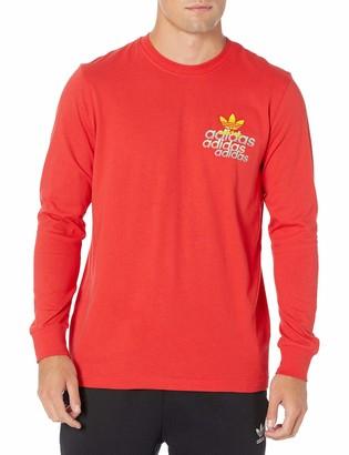 adidas Men's Small Logo Long Sleeve Lush Red X-Large