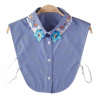 Kj Kuijhff KJ-KUIJHFF Neck Chain Women Blouse Sweatshirt Vest Lapel Fake False Collar Detachable Vertical Striped Floral Printed Embroidery Half Shirt Tie Button Apparel Lapel Blouse Top Accessories