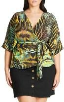 City Chic Plus Size Women's Jungle Print Wrap Top