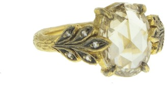 Cathy Waterman 2.67 Carat Champagne Diamond Oak Leafside Yellow Gold Ring