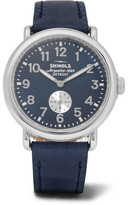 Shinola The Runwell 41mm Stainless Steel And Leather Watch - Navy
