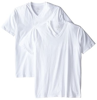 Calvin Klein Underwear Big Tall Cotton Classic 2-Pack Tall Short Sleeve V-Neck (White) Men's Underwear