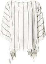 Brunello Cucinelli frayed striped tunic - women - Silk - XS