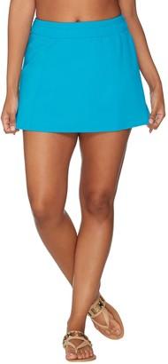 Denim & Co. Beach Swim Skirt with Back Zip Pocket
