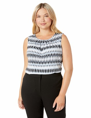 Calvin Klein Women's Plus Size Printed Pleat Neck Cami
